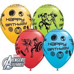 """AVENGERS ASSEMBLE BIRTHDAY 11"""" LIME GREEN, GOLDENROD, ROBIN'S EGG BLUE & RED (25CT)"""