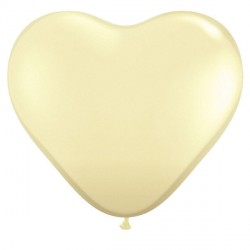 "IVORY SILK HEART 6"" FASHION (100CT)"