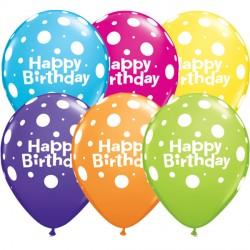 "BIG POLKA DOTS BIRTHDAY 11"" TROPICAL ASSORTED (25CT)"