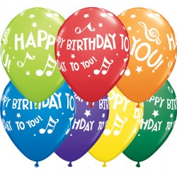"""HAPPY BIRTHDAY TO YOU MUSIC NOTES 11"""" CARNIVAL ASSORTED (25CT)"""