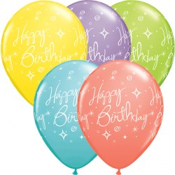 "ELEGANT SPARKLES & SWIRLS BIRTHDAY 11"" SORBET ASSORTED (25CT)"