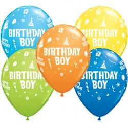 "BIRTHDAY BOY 11"" DARK BLUE, YELLOW, ORANGE, LIME GREEN & ROBIN'S EGG BLUE (25CT)"