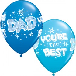 "DAD YOU'RE THE BEST STARBURSTS 11"" DARK BLUE & ROBIN'S EGG BLUE (25CT)"