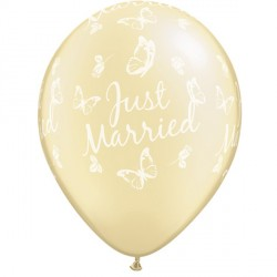 "JUST MARRIED BUTTERFLIES-A-ROUND 11"" PEARL IVORY (25CT)"