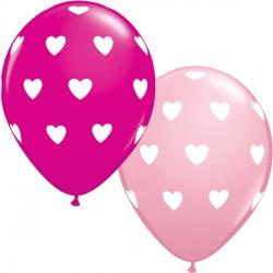 "BIG HEARTS 11"" PINK & WILD BERRY (25CT)"