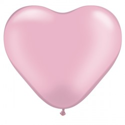 """PINK HEART 6"""" PEARL (100CT)"""