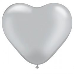 "SILVER HEART 6"" METALLIC (100CT)"