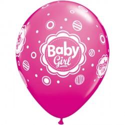 "BABY GIRL DOTS 11"" ROSE (6X6CT)"