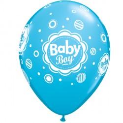 "BABY BOY DOTS 11"" ROBIN'S EGG BLUE (6X6CT)"