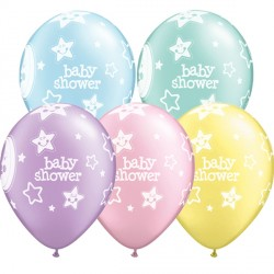 "BABY SHOWER MOON & STARS 11"" PASTEL ASSORTED (6X6CT)"
