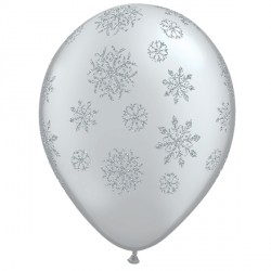 "GLITTER SNOWFLAKES-A-ROUND 11"" SILVER (25CT)"