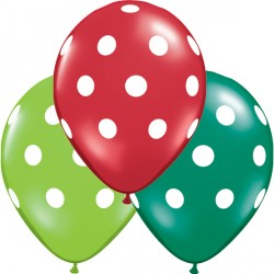"BIG POLKA DOTS 11"" EMERALD GREEN, RUBY RED & LIME GREEN (25CT)"