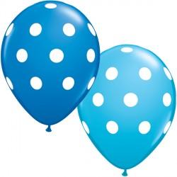 "BIG POLKA DOTS 11"" DARK BLUE & ROBIN'S EGG BLUE (25CT)"