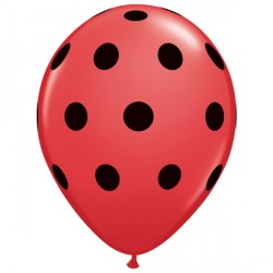 "BIG POLKA DOTS 5"" RED WITH BLACK INK (100CT)"
