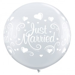 JUST MARRIED HEARTS 3' DIAMOND CLEAR (2CT)