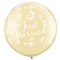 """JUST MARRIED BUTTERFLIES-A-ROUND 30"""" PEARL IVORY (2CT)"""