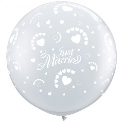 JUST MARRIED HEARTS-A-ROUND 3' DIAMOND CLEAR (2CT)