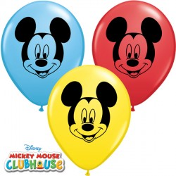 "MICKEY MOUSE FACE 5"" RED, YELLOW & PALE BLUE (100CT)"