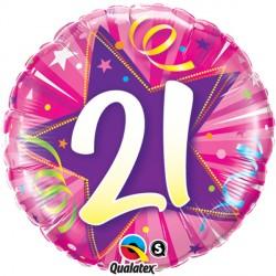 "21 SHINING STAR HOT PINK 18"" PKT"