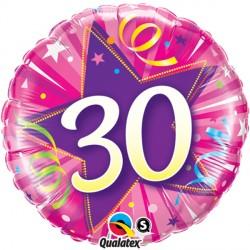 "30 SHINING STAR HOT PINK 18"" PKT"