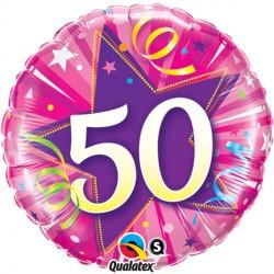 "50 SHINING STAR HOT PINK 18"" PKT"