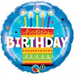 "BIRTHDAY CAKE BLUE 18"" PKT"