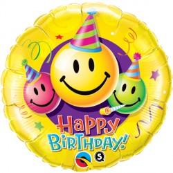 "BIRTHDAY SMILEY FACES 18"" PKT"