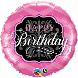 "BIRTHDAY PINK & BLACK 18"" PKT"