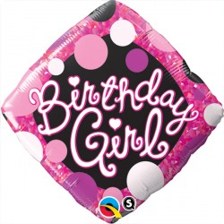 "BIRTHDAY GIRL PINK & BLACK 18"" PKT"