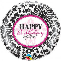 "BIRTHDAY ELEGANT DAMASK 18"" PKT"