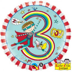 "RACHEL ELLEN AGE 3 SUPER HERO STRIPES 18"" PKT"