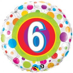 "AGE 6 COLOURFUL DOTS 18"" PKT"