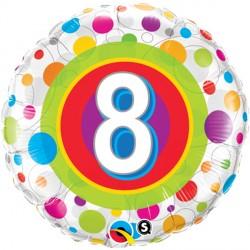 "AGE 8 COLOURFUL DOTS 18"" PKT"