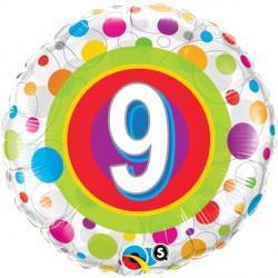 "AGE 9 COLOURFUL DOTS 18"" PKT"