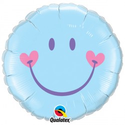 "SWEET SMILE FACE PALE BLUE 18"" PKT"