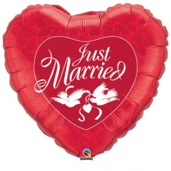 "JUST MARRIED RED & WHITE 36"" JUMBO PKT"