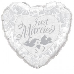 "JUST MARRIED PEARL WHITE & SILVER 36"" JUMBO PKT"
