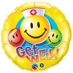 "GET WELL SMILEY FACES 18"" PKT"