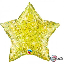 "CITRINE YELLOW HOLOGRAPHIC STAR 20"" FLAT Q"
