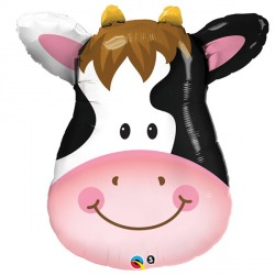 """CONTENTED COW 14"""" MINI SHAPE INFLATED WITH CUP & STICK"""