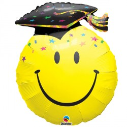 "SMILE FACE PARTY GRAD 14"" MINI SHAPE INFLATED WITH CUP & STICK"