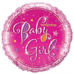 """WELCOME BABY GIRL STARS 9"""" INFLATED WITH CUP & STICK"""