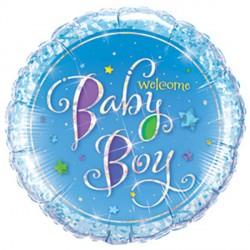 """WELCOME BABY BOY STARS 9"""" INFLATED WITH CUP & STICK"""