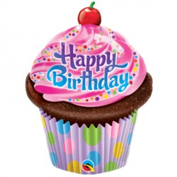 "BIRTHDAY FROSTED CUPCAKE 14"" MINI SHAPE INFLATED WITH CUP & STICK"