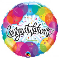 """CONGRATULATIONS BALLOONS 9"""" INFLATED WITH CUP & STICK"""