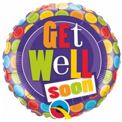 "GET WELL DOT PATTERNS 9"" INFLATED WITH CUP & STICK"