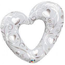 "HEARTS & FILIGREE PEARL WHITE 14"" MINI SHAPE INFLATED WITH CUP & STICK"