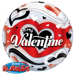 "TO MY VALENTINE BANNER HEARTS 22"" SINGLE BUBBLE"