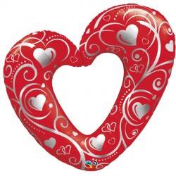 "HEARTS & FILIGREE RED 14"" MINI SHAPE INFLATED WITH CUP & STICK"