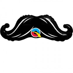 """MINI MUSTACHE 12"""" MINI SHAPE INFLATED WITH CUP & STICK"""